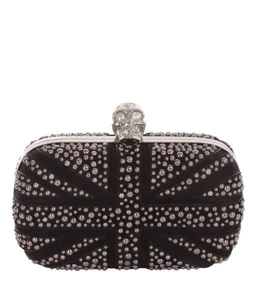 Alexander McQueen - Black Suede Bubble Stud Britannia Skull Box Clutch $1,895.00