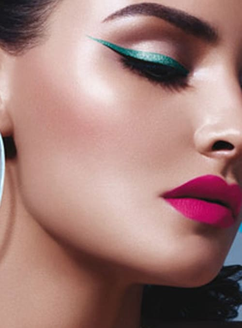 bright-colored-eye-lips-party-makeup