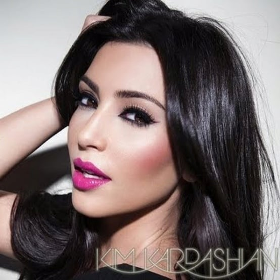 Kim-kardashian-pink-lips-heavy-eyes-makeup-look U2013 The Fashion Tag Blog
