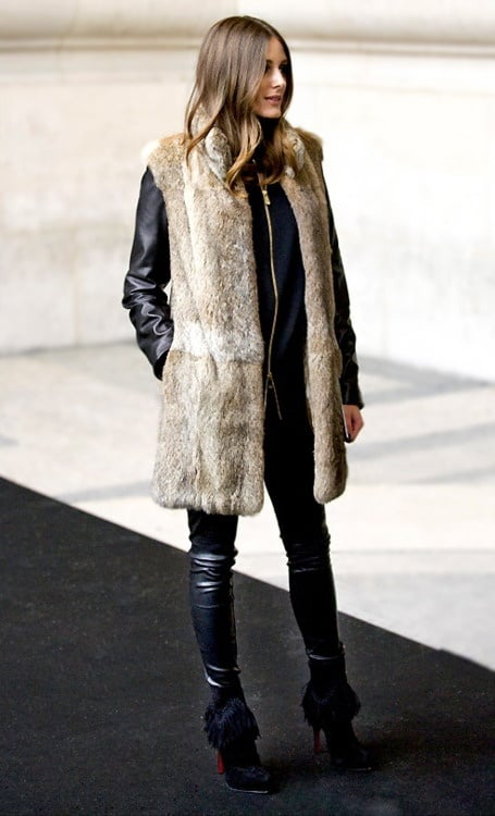 olivia palermo fur vest Olivia Palermo   Style Icon! What Are Her Fashion & Styling Tips?