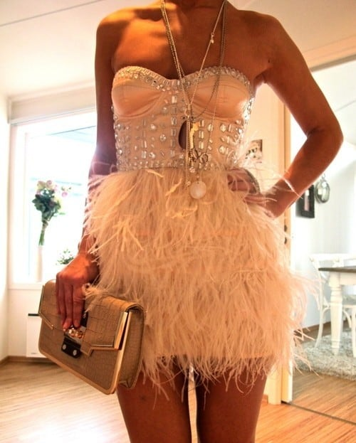 party dress feathers short sequines Holiday Party Looks & Styles! What To Wear For 2013 New Years Eve Party?