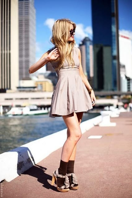 socks dress style Show Me Your Socks! Socks With Heels Trend & Knee High Socks For 2013 Winter! Yes Or No?