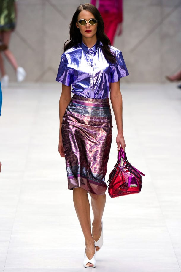 burberry spring 2013 holographic trend The Holographic Trend! Retro Futuristic Glam Luxe Or Kitsch?