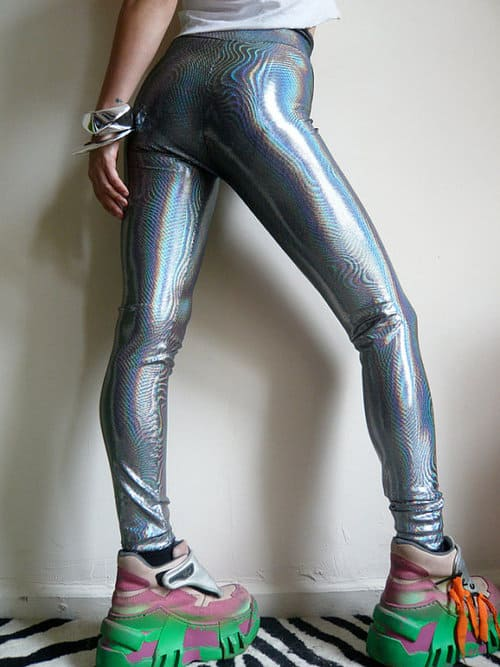 holographic fashion trend leggings The Holographic Trend! Retro Futuristic Glam Luxe Or Kitsch?