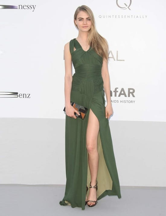 Cara-Delevingne-green-dress