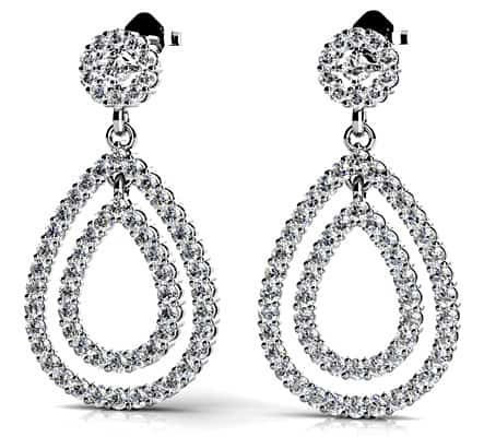 Double Teardrop Diamond Earrings