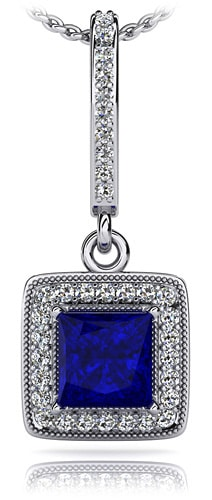 Elegant Princess Cut Diamonds and Gem Drop Pendant