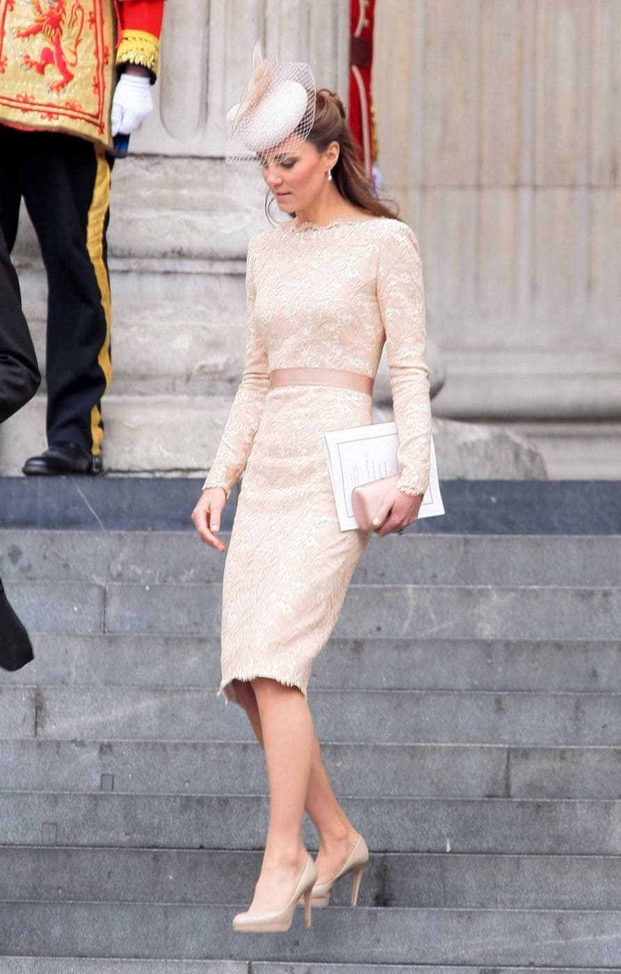 Catherine Duchess of Cambridge seen leaving St Paul's Cathedral in London after Queen Elizabeths Diamond Jubilee Thanksgiving Service