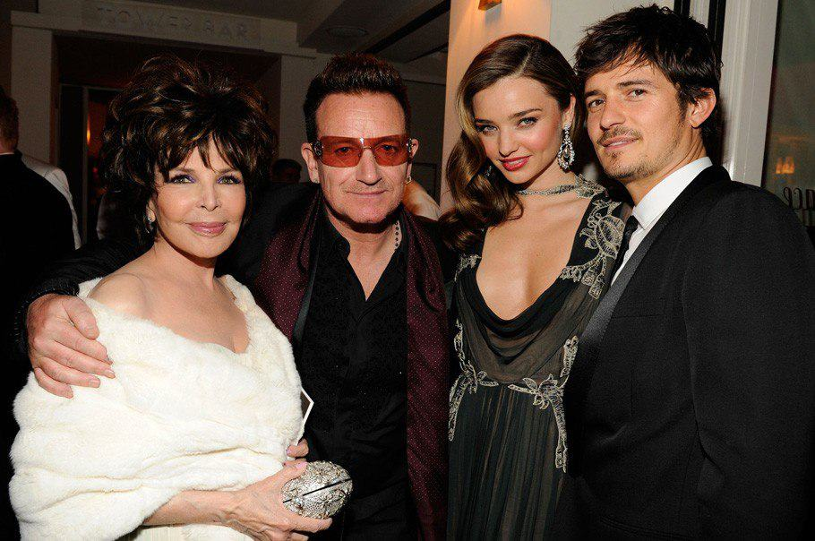 vanity-fair-oscar-party-2013-jackie-Collins-Bono-Miranda-Kerr-Orlando-Bloom