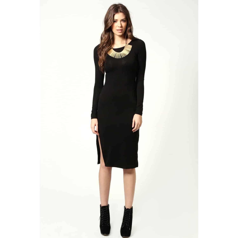 black-midi-dress