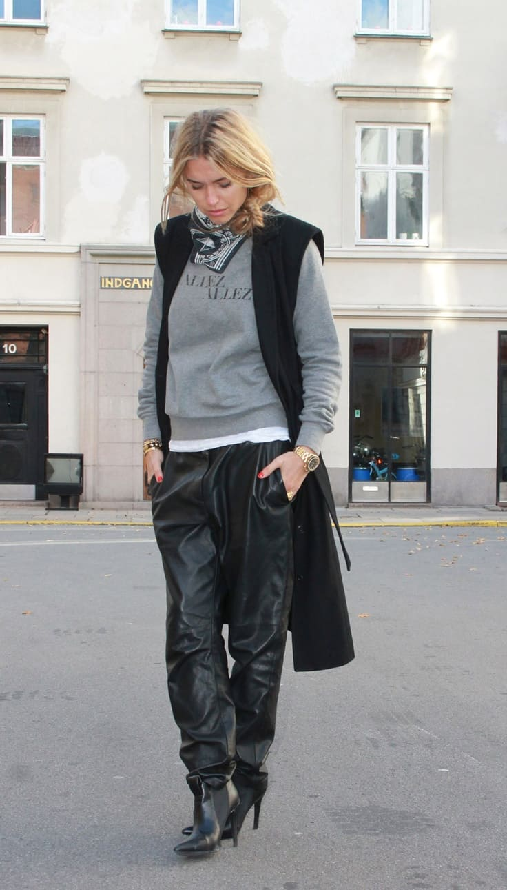 Street-style-leather-baggy-pants u2013 The Fashion Tag Blog