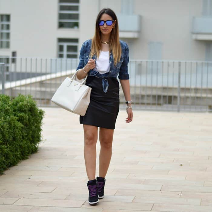 How To Style Black Mini Leather Skirts The Fashion Tag Blog