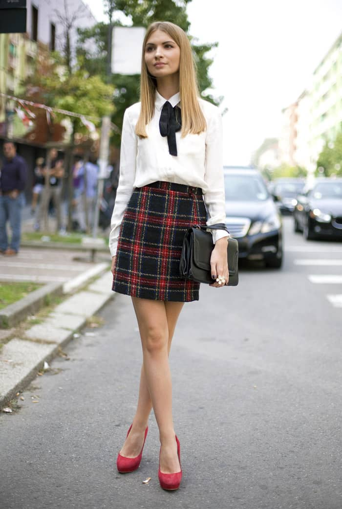 May 03, · Use a plaid skirt for a