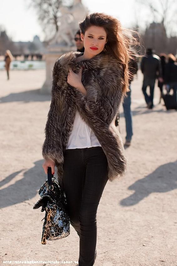 Bianca Balti-fur jacket parisfw stockholmss