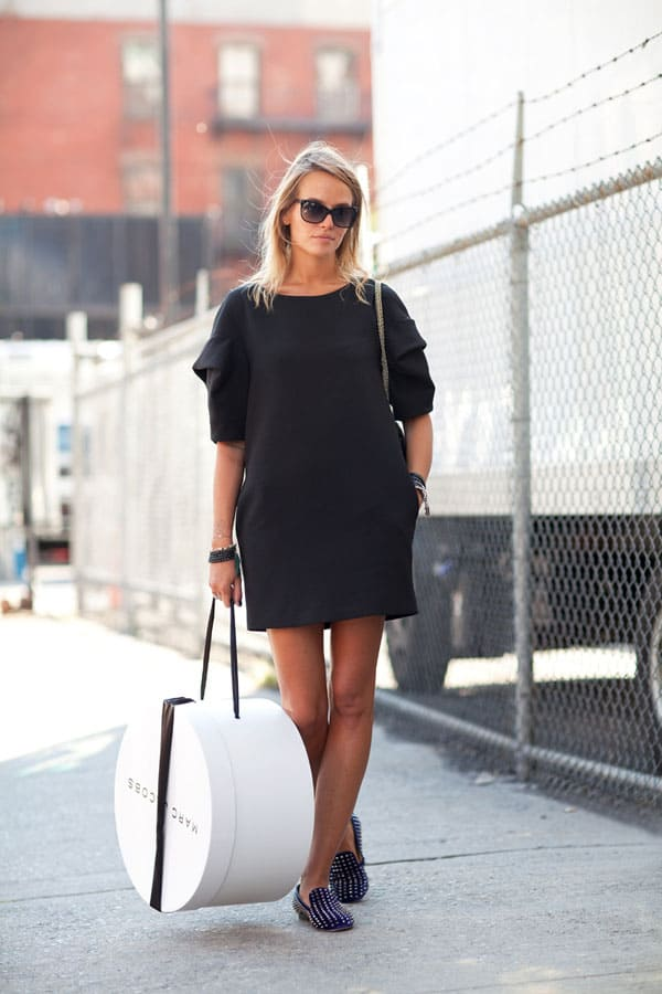 Black mini dress street style fashion tag blog