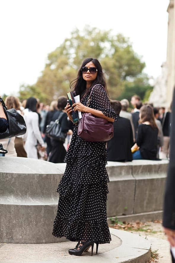 polka-dots-maxi-dress-street-style