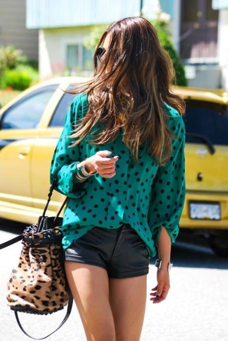 Polka dots street style green blouse the fashion tag blog for Style green