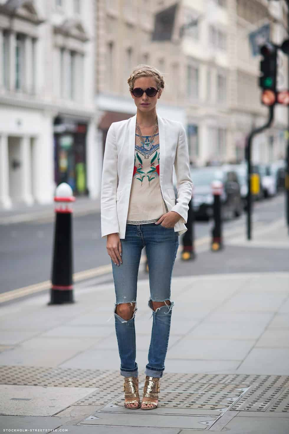To flatter hips best, choose a tapered leg instead of a skinny one, like this pair with roomier thighs and less narrow ankles. Style: Pencil Sharp; sizes: 23 to 32; .