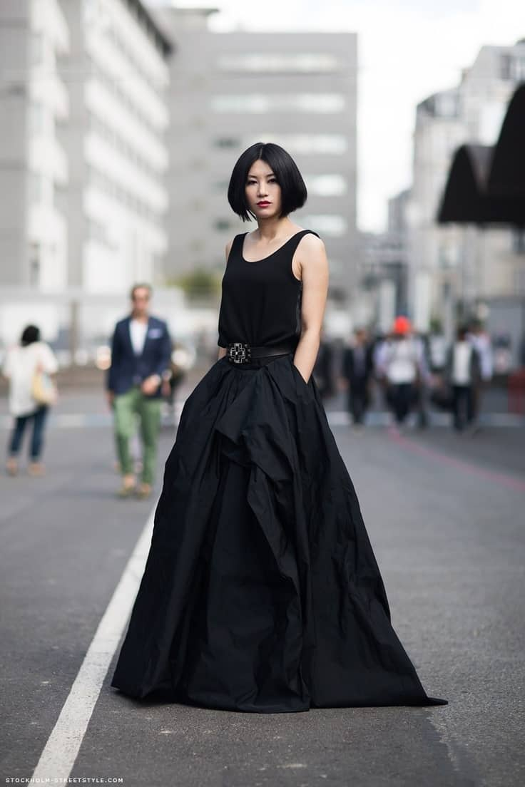 big-black-dress-street-style