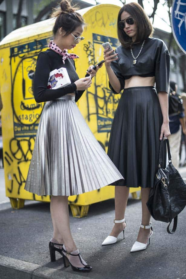 pleated skirts street style The SKIRTS Of 2014 Spring!