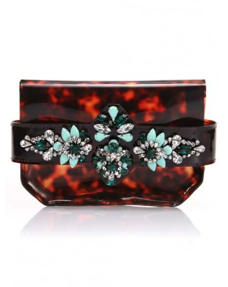 Shourouk Crystal Embellished Tortoise Clutch