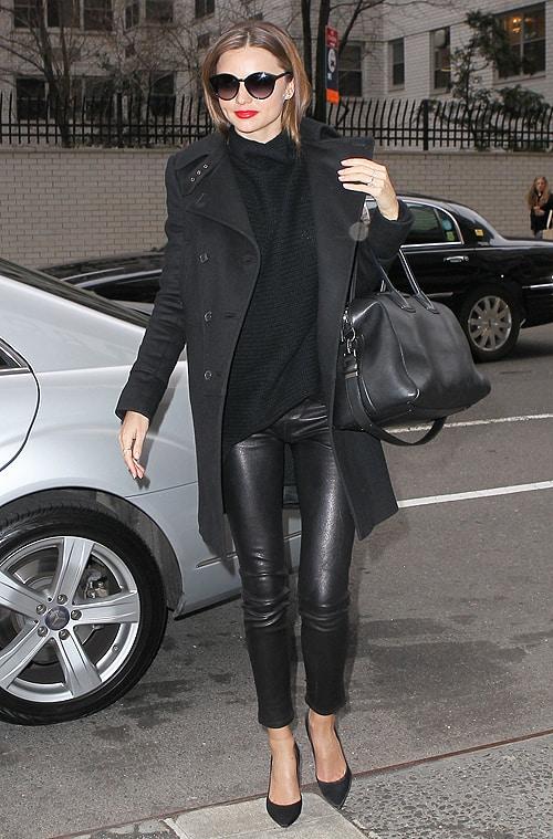 Miranda Kerr heads to the Upper East Side in all black