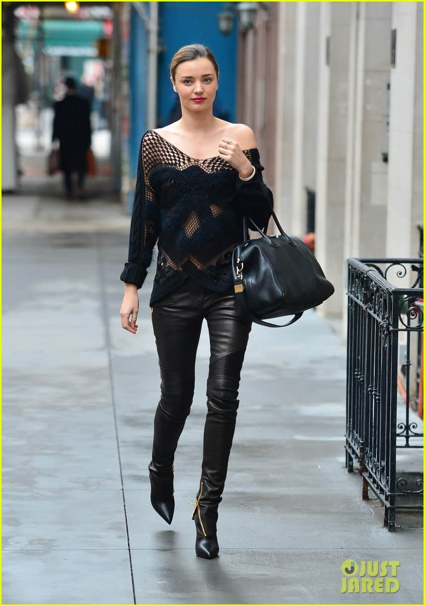 Miranda Kerr seen out in the streets of nyc on a revealing cloth on a cold weather wearing black leather pants