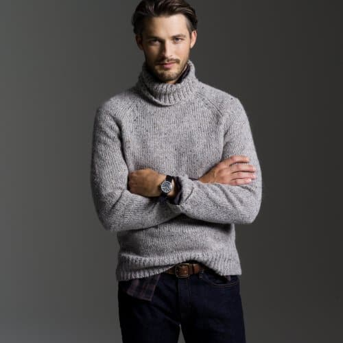 Turtleneck Sweater Man Bronze Cardigan