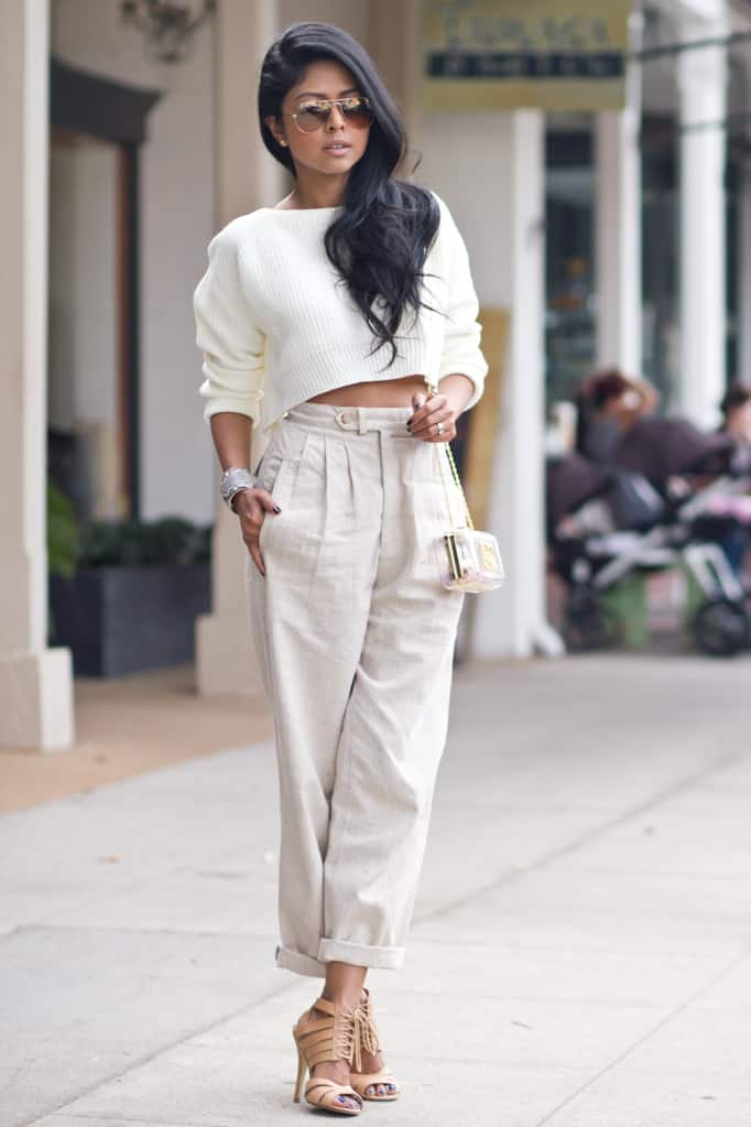 shop-lunab-white-cropped-knit-sweater-nude-high-waist-pants ...