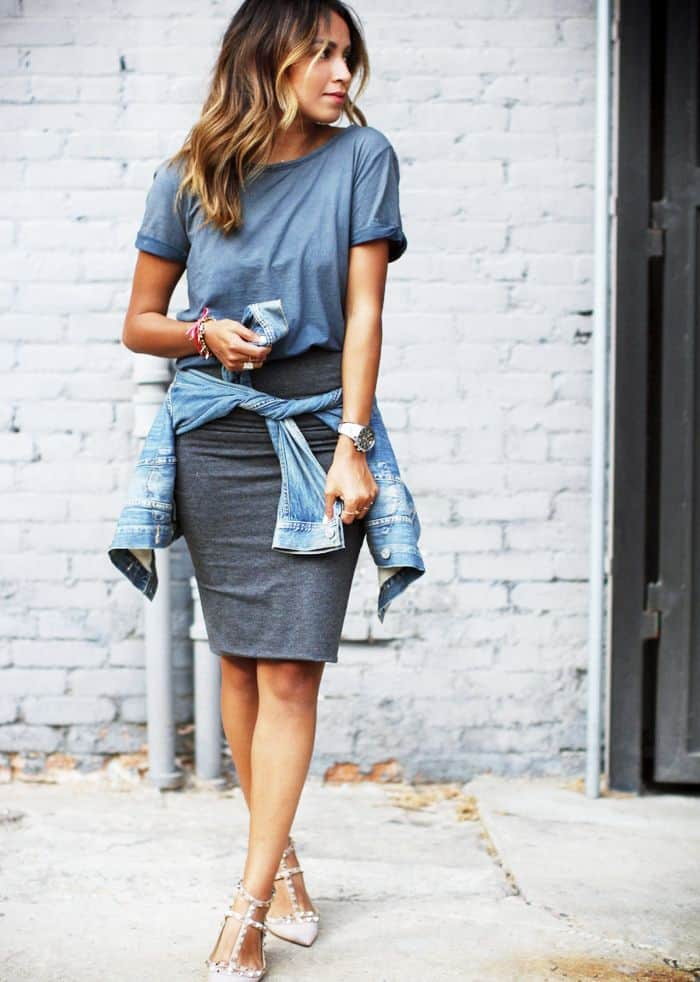 Pencil skirt and flowy blouse