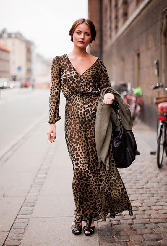Dvf maxi dress animal print
