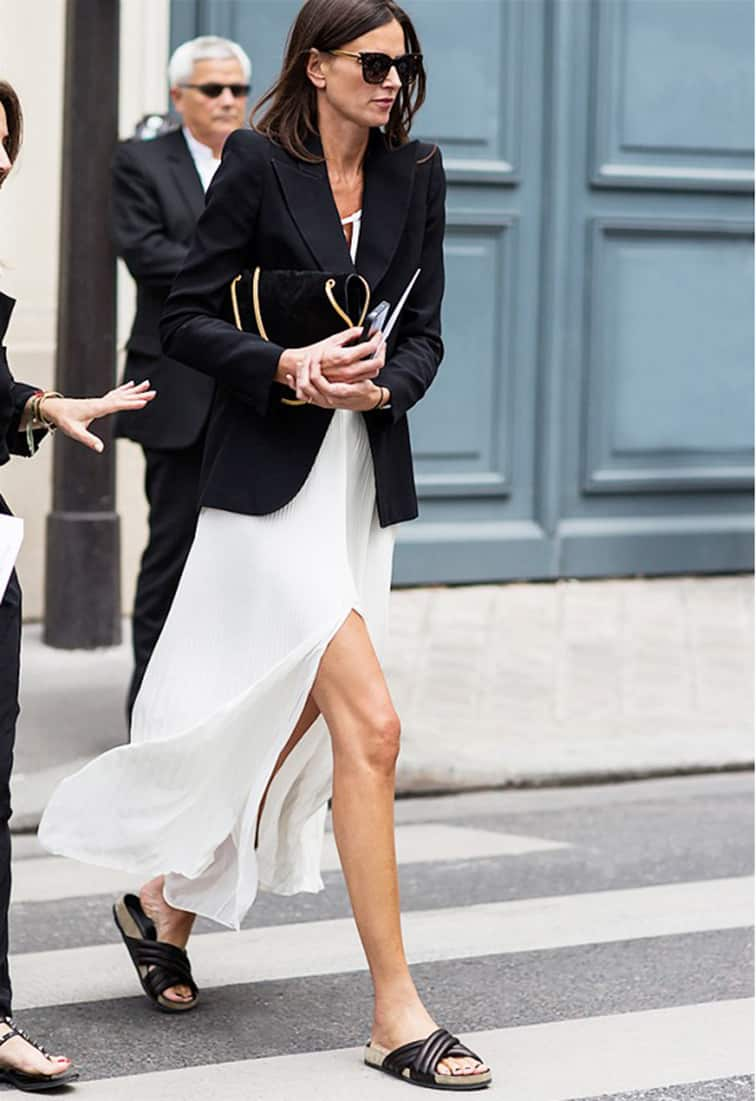 Street style, effortless chic, Isabel Marant slide sandas