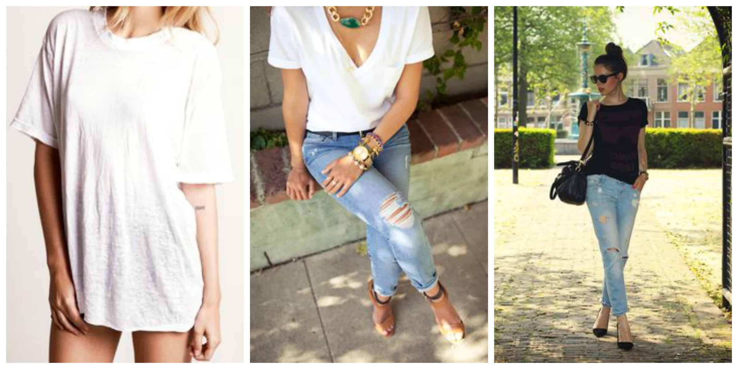 White t shirt fashion tips - Boyfriend Tees