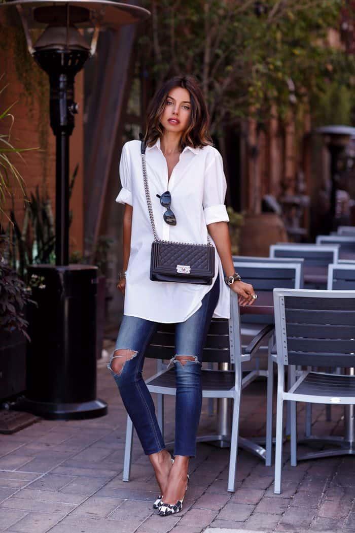 white shirt blue jeans  fashion tag blog