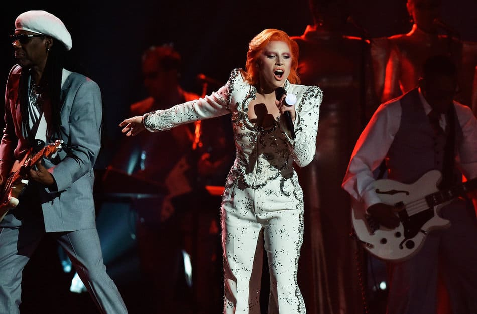 LOS ANGELES, CA - FEBRUARY 15:  Singer Lady Gaga performs a tribute to the late David Bowie onstage during The 58th GRAMMY Awards at Staples Center on February 15, 2016 in Los Angeles, California.  (Photo by Kevork Djansezian/Getty Images for NARAS)