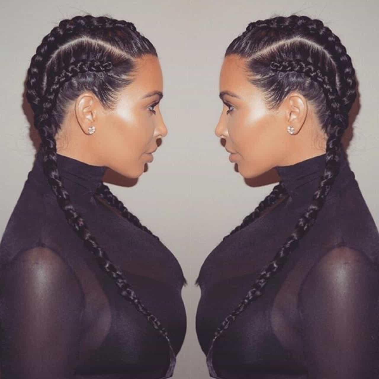 Enjoyable Kim Kardashian Braided Hairstyle With Scarf Braids Hairstyles For Women Draintrainus