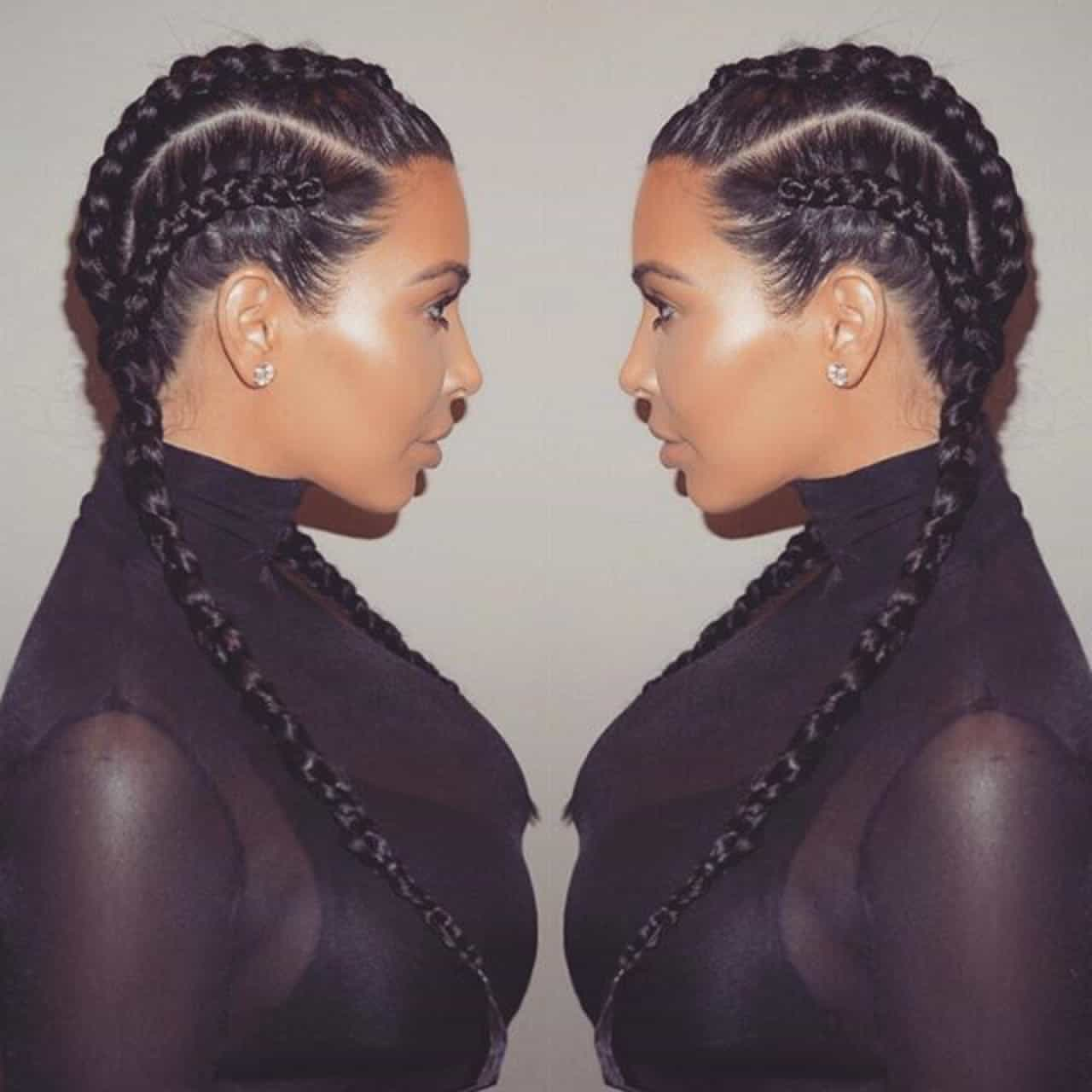Stupendous Kim Kardashian Braided Hairstyle With Scarf Braids Hairstyles For Men Maxibearus