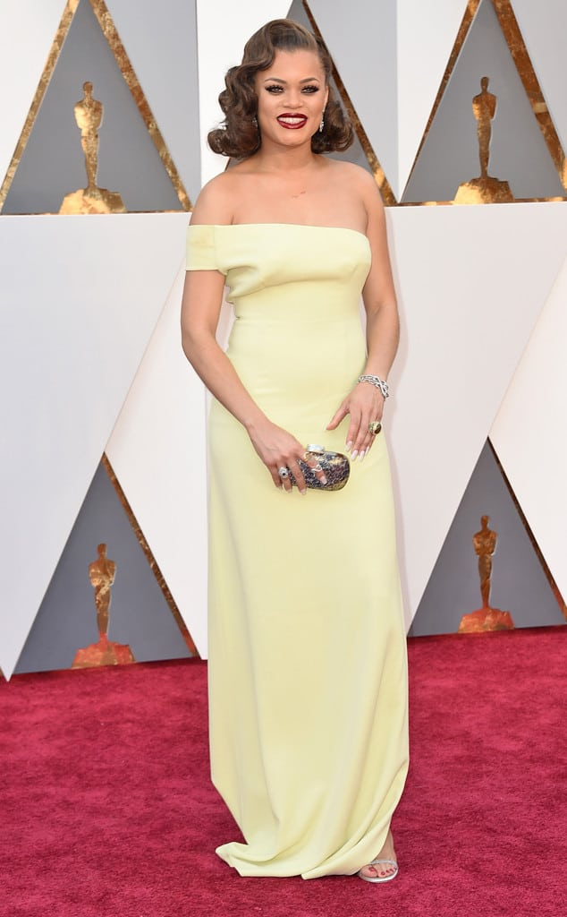 yellow dress red carpet oscar
