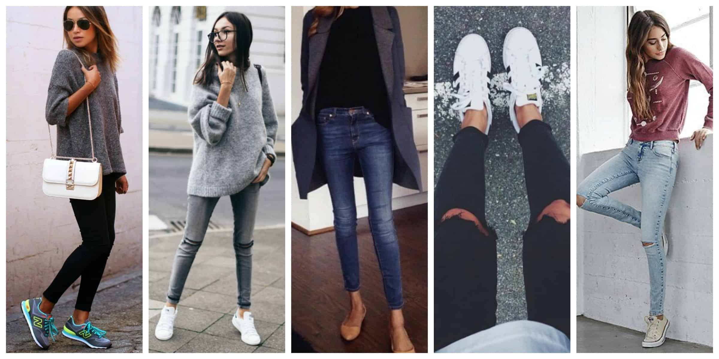 how to wear sneakers with skinny jeans