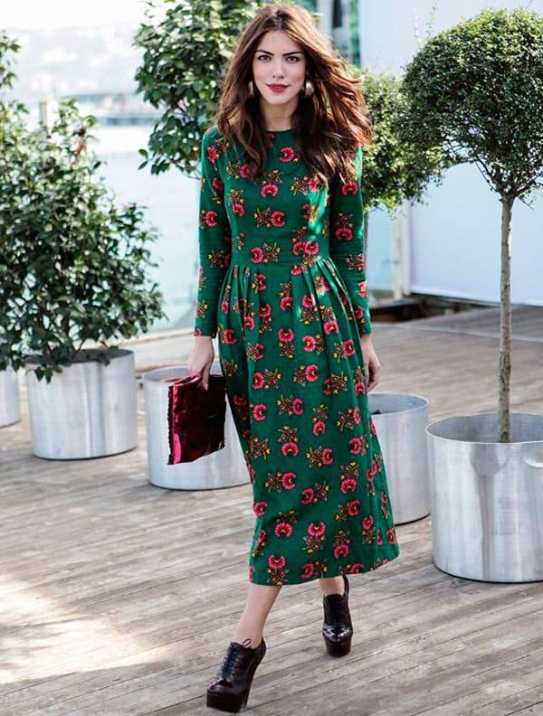 Midi Green Dress Street Style The Fashion Tag Blog