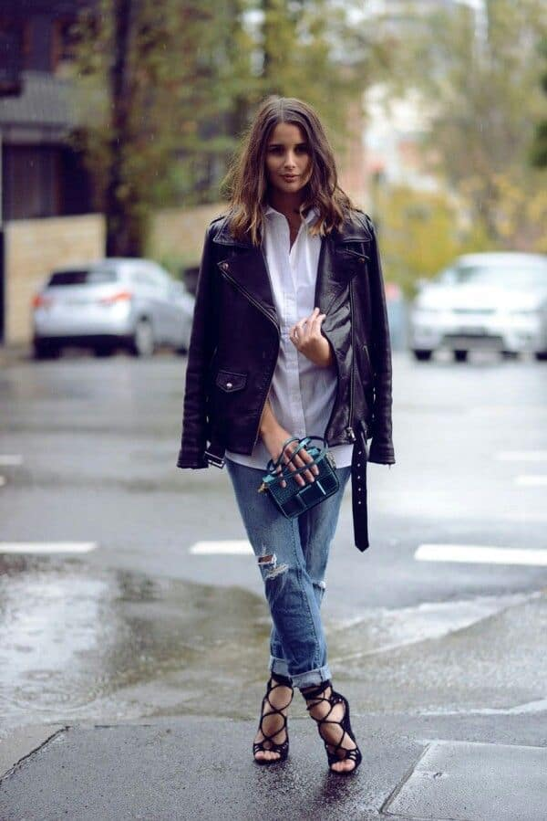 impressive leather jacket outfit inspo style