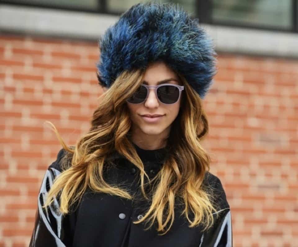 street-style-new-yor-fashion-week-nyfw-fw-2013-furry-hats-blue-fur-purple-round-sunglasses-patent-sleeve-coat-wavy-waves-hair-via-tommy-ton-style-com-960x600