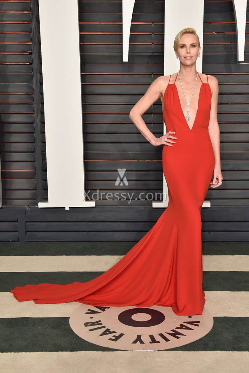 charlize-theron-plunging-red-backless-mermaid-2016-oscars-evening-prom-dress-1