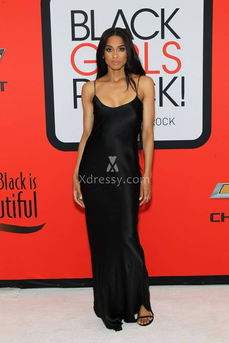 ciara-black-sleek-satin-simple-evening-prom-dress-bets-black-girls-rock-2015-1