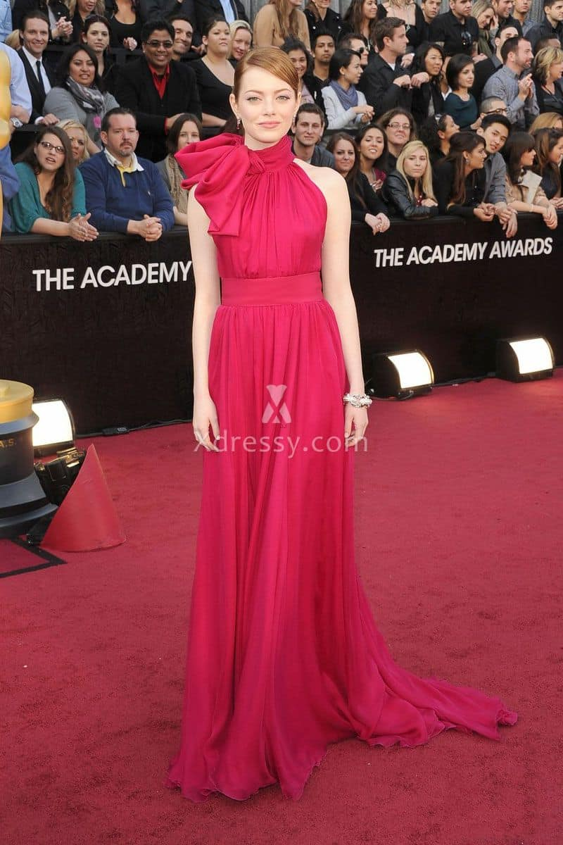 emma-stone-unique-high-neck-fuchsia-chiffon-prom-dress-oscars-2012-red-carpet-1