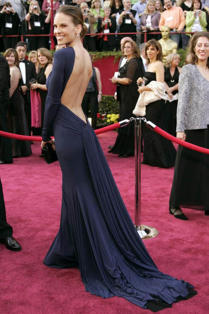 hilary-swank-long-sleeve-navy-oscar-red-carpet-evening-formal-dress