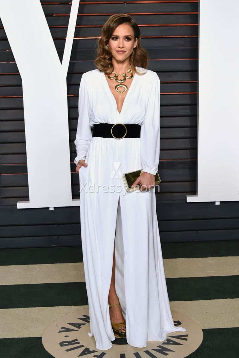 jessica-alba-white-long-sleeve-oscars-2016-slit-evening-formal-dress-1