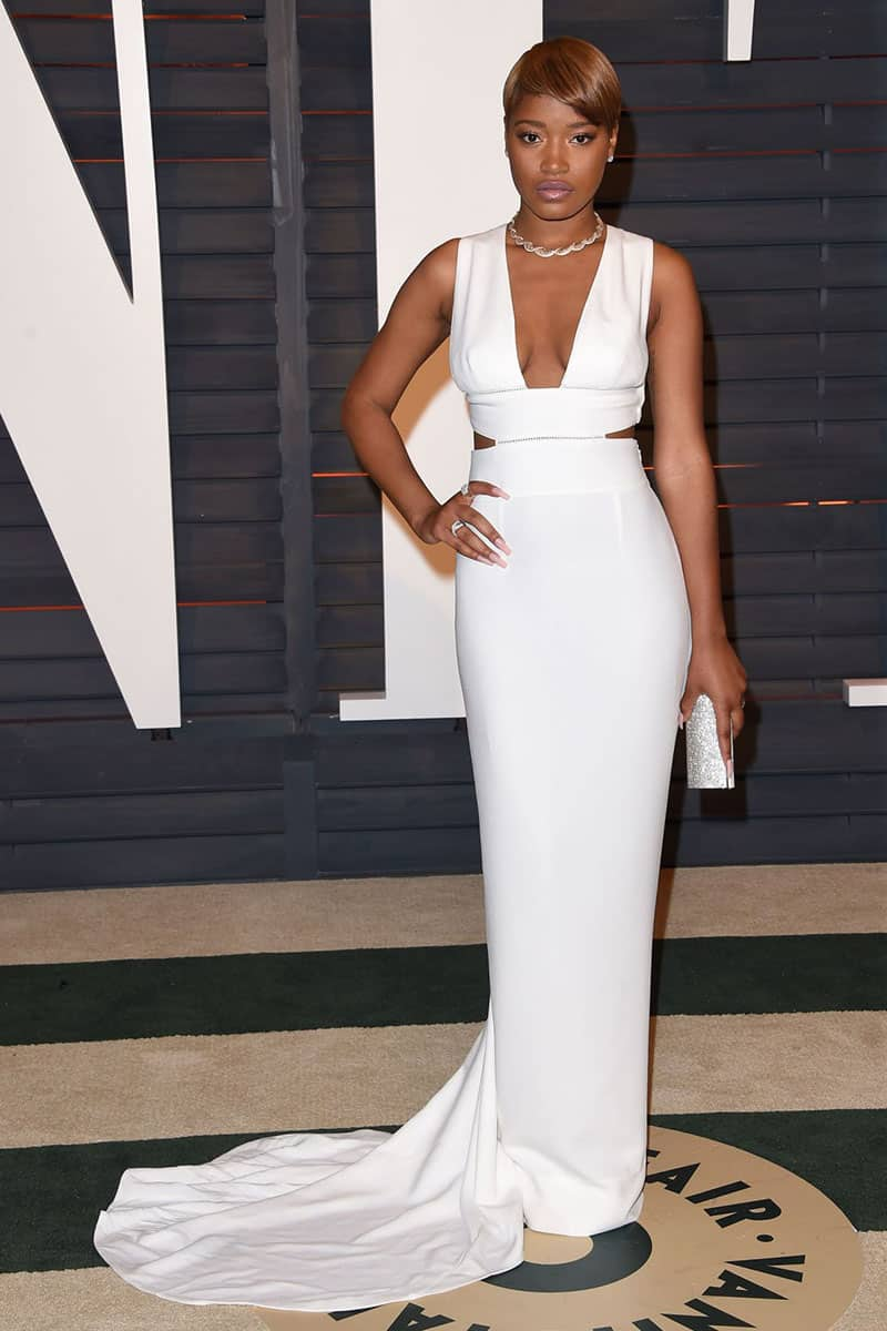 keke-palmer-white-sleeveless-plunging-semi-formal-evening-prom-dress-oscar-2015-1