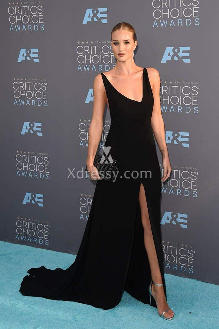 rosie-huntington-whiteley-black-v-neck-open-back-prom-dress-critic-choice-2016-1