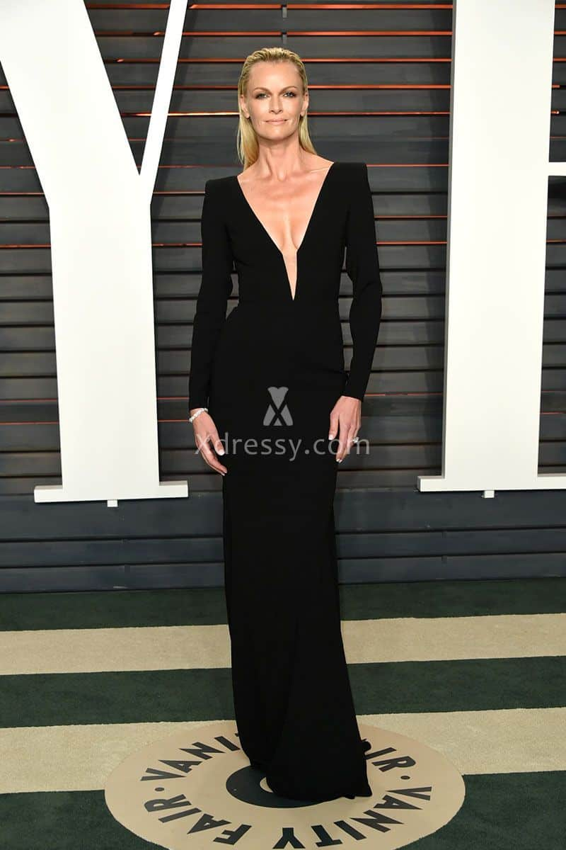 sarah-murdoch-black-long-sleeve-celebrity-evening-dress-vanity-fair-oscars-2016-1